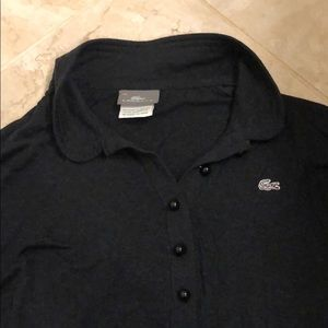 black long sleeve collared lacoste shirt